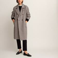 La Redoute Checked Boyfriend Coat Double Breasted Size 12 Wool Mix Tailored RRP