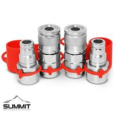 "3/8"" NPT Flat Face Hydraulic Quick Connect Coupler / Coupling Skid Steer, 2 Sets"