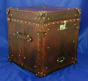 Decorative English Handmade Leather Occasional Trunk & Chests