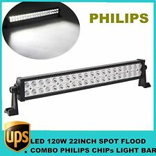 "22"" 120W PHILIPS LED Work Light Bar COMBO 12V 24V Offroad Fog 4X4 DRIVING JEEP"