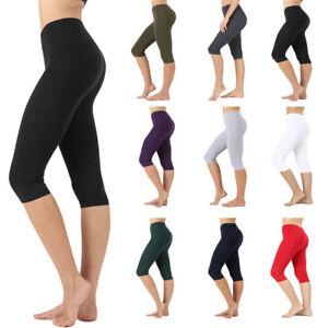 Womens Seamless Soft Cotton Stretch Basic Capri Knee Leggings