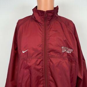 Nike UMass Minutemen Tennis Team Windbreaker Jacket Vtg NCAA College Red XL
