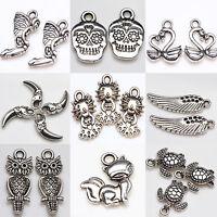 10/20Pcs Multi-Styles Tibetan Silver Beads Pendant Charms DIY Jewelry Making