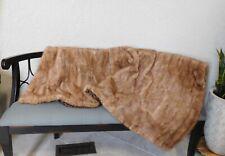 OVERSIZED GENUINE REAL MINK FUR THROW BLANKET QUILT COVERLET BLOND BROWN COAT