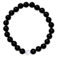 CHARGED Black Tourmaline & Rainbow Moonstone Crystal Distance Bracelet REIKI!