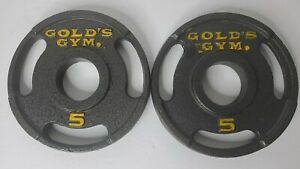 """Two (2) 5 Lb Golds Gym 2"""" Olympic Grip Weight Plates-  Set Of 2 - 10 lb Total"""