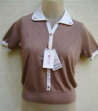 ERDOS Women's Eyelet Small 4 Shirt Button Collar Pearl Breaded Knit Blouse Brown