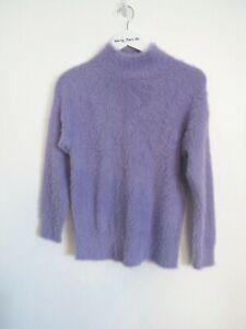 F&F UK 8 Soft Fluffy Jumper Y2K Lilac/Purple Long Sleeve High Neck Cosy