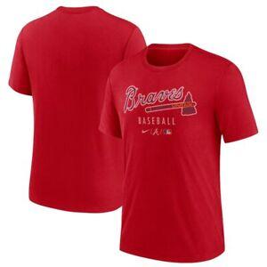 Nike Mens Atlanta Braves Dri Fit Tri Blend MLB Baseball T-Shirt Tee XL Red NEW