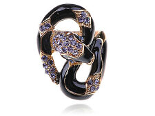 Black Enamel Body Purple Diamante Rhinestone Serpent Snake Fashion Sized Ring