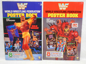 2 WWF Poster Books - 1991 Wrestling - Superstars & Tag Teams - 8 Posters in each