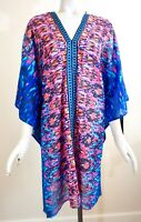 NWT $88 Miraclesuit Vesuvio Cotton Caftan Swim Cover Up, Blue/Multicolor, Size L