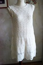 gorgeous off white ZARA KNIT eyelet CROCHET mori romantic mini dress L