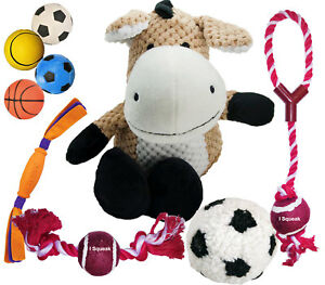 Dog Toy Mega Pack Squeaky Ball Rope Plush Selection (Contains 9 Toys) Selection