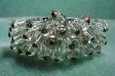 Vintage Crystal Glass Cha Cha Expansion Bracelet Silver Tone
