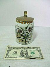 Sarreguemines Handpainted Porcelain Brass Lid Beer Stein Mug Signed Hogl 0.5L