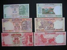 INDIA  5 + 10 + 20 Rupees 2010  (P94A-P96)  UNC