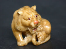 Japanese ivory colored bone  netsuke -A Cute Baby  TIGER Crying for Its Mommy