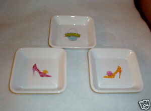"Set of (3) Square Ceramic AppetizerPlates/Oil Dipping Bowls-by Halmark  4"" x 4"""