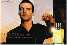 PUBLICITE ADVERTISING  2001  LANCOME  (2 pages)  MIRACLE  parfum homme