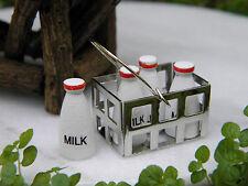 Miniature Dollhouse FAIRY GARDEN Accessories ~ Milk Bottles in Basket ~ NEW