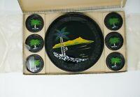 Hawaiian Serving Tray & Coaster Vintage 7 Piece Set Inlaid Shell Barware Tiki