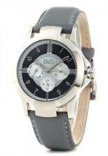 D&G Dolce & Gabbana DW0533 Texas Armbanduhr Herren, Edelstahl, Leder, Grau - Neu