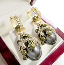 FASCINATING EARRINGS HANDMADE OF STERLING SILVER 925 & 24K GOLD WITH GRAY PEARL