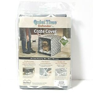 Midwest Quiet Time Crate Cover Gray Defender Series for Dogs 24x18x19 Small