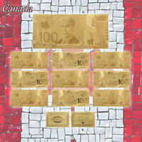 WR Gold Foil 10pcs Canadian 100 Banknotes Souvenir Collection Gifts