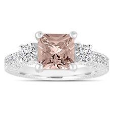 Princess Cut Morganite Engagement Ring Three Stone 1.88 Carat 14K White Gold