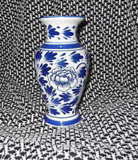 Beautiful Chinese Vase Floral Painted Blue & White Ceramic