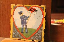 ca. 1900's Antique Valentine's Day Card Die Cut Policeman Stop Carrington
