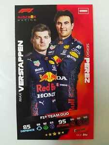 TOPPS TURBO ATTAX F1 FORMULA 1 XL OVERSIZE CARD MAX VERSTAPPEN & SERGIO PEREZ