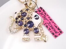 Betsey Johnson Cute inlay blue Crystal elephant Pendant Necklace # A153J