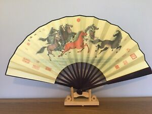 1x Chinese Silk Folding Hand Held bamboo Fan Party Dance Large (success)