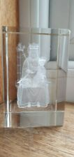 Laser Etched 3D Jesus and Mary block - paper weight - nice design - religious