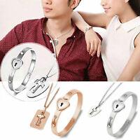 Couple Stainless Steel Love Heart Lock Bracelet Bangles Key Pendant Necklace Set