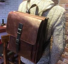 2016 mens Rucksack travel pu Leather Messenger Shoulder Backpack Laptop  Bag