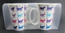 Cat Mug - Set of 2 Bone China Clear Plastic Carry Pack - Bright & Colourful