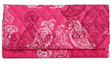 Vera Bradley Quilted Pink STAMPED PAISLEY TRIFOLD WALLET Long NWT