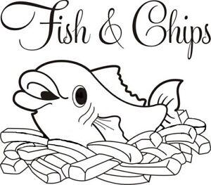 fish and chips sticker shop window vinyl sign chippy van side wall art kitchen