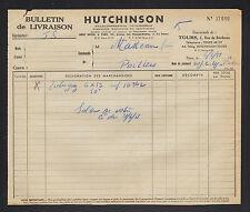 """TOURS (37) CHAUSSURES en CAOUTCHOUC , PNEUS & IMPERMEABLES """"HUTCHINSON"""" en 1951"""