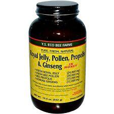 Organic Bee Farms y.S Eco Jalea Real polen propóleos & ginseng en miel 552g