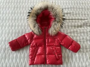 AUTHENTIC MONCLER RED DOWN PADDED K2 BABY JACKET COAT FUR HOOD 9-12 MONTHS!