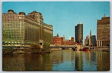 Merchandise Mart & Chicago River Skyline Mahomet, Illinois Chrome Postcard New