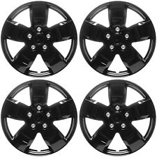 "4 Pc Set of 16"" ICE BLACK Hub Caps for OEM Steel Wheel Cover Center Cap Covers"