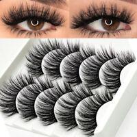 3D Mink Eyelashes 5Pairs Natural False Fake Long Thick Handmade Lashes Makeup Du