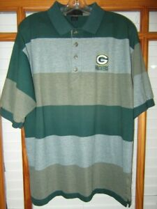 Vintage 90's NFL Green Bay Packers Polo Shirt Men's Large Antigua Striped