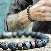 Männer Heilung Yoga Perlen Armband 8mm Lava Stein Meditation Mala Perlen Sc X1C7